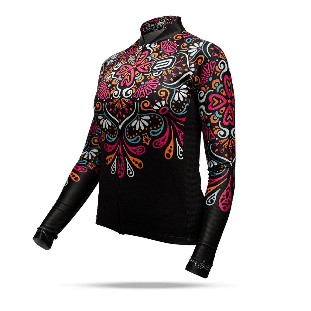 9af9058bb0689 camisa manga longa asw feminina active fancy preta ciclismo. Carregando  zoom.