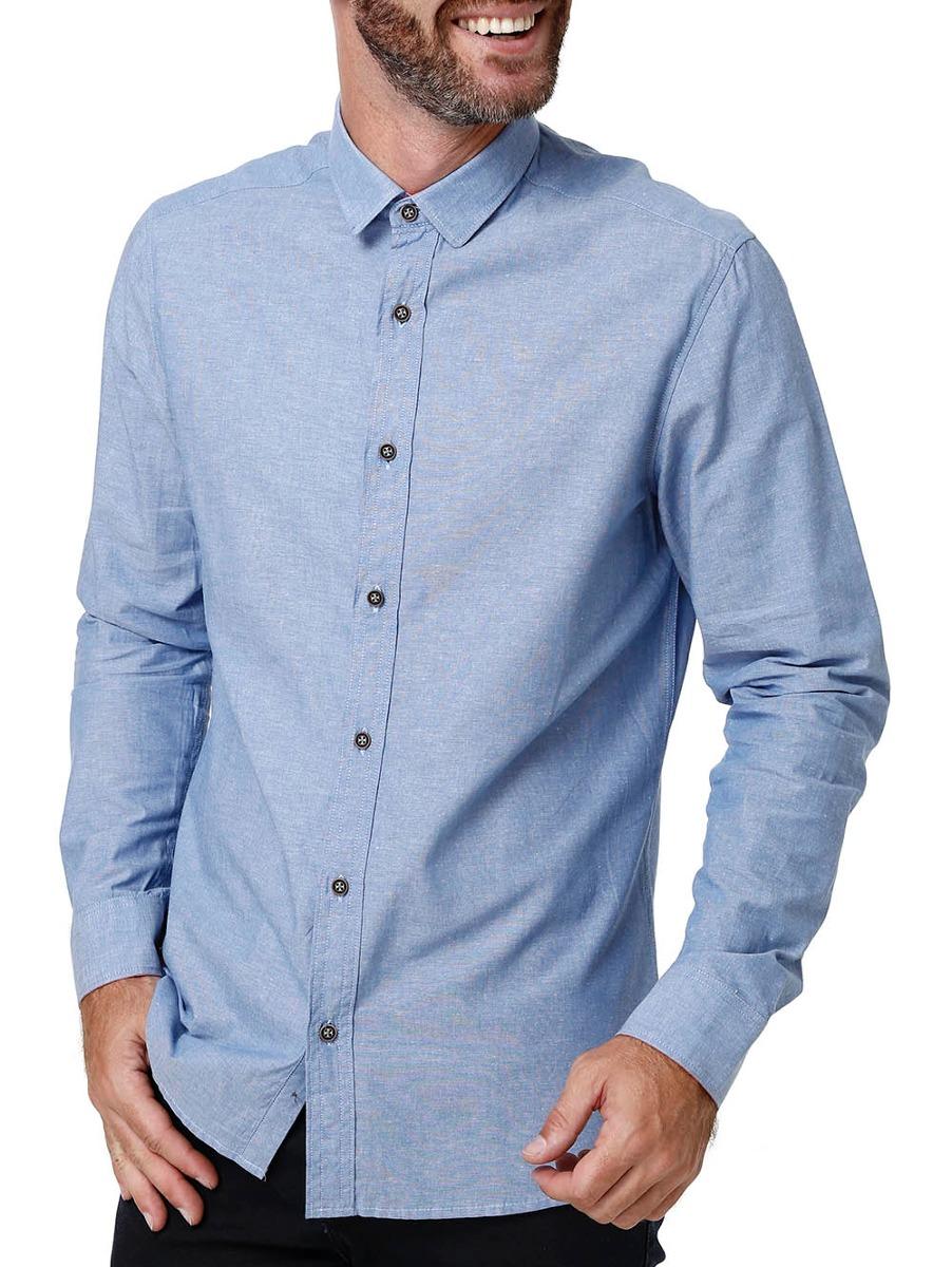 7714f989e2 camisa manga longa masculina azul. Carregando zoom.