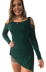 90279f1d2 Camisa Manga Longa Ombros Vazado Pordado Verde Blusa Malha P