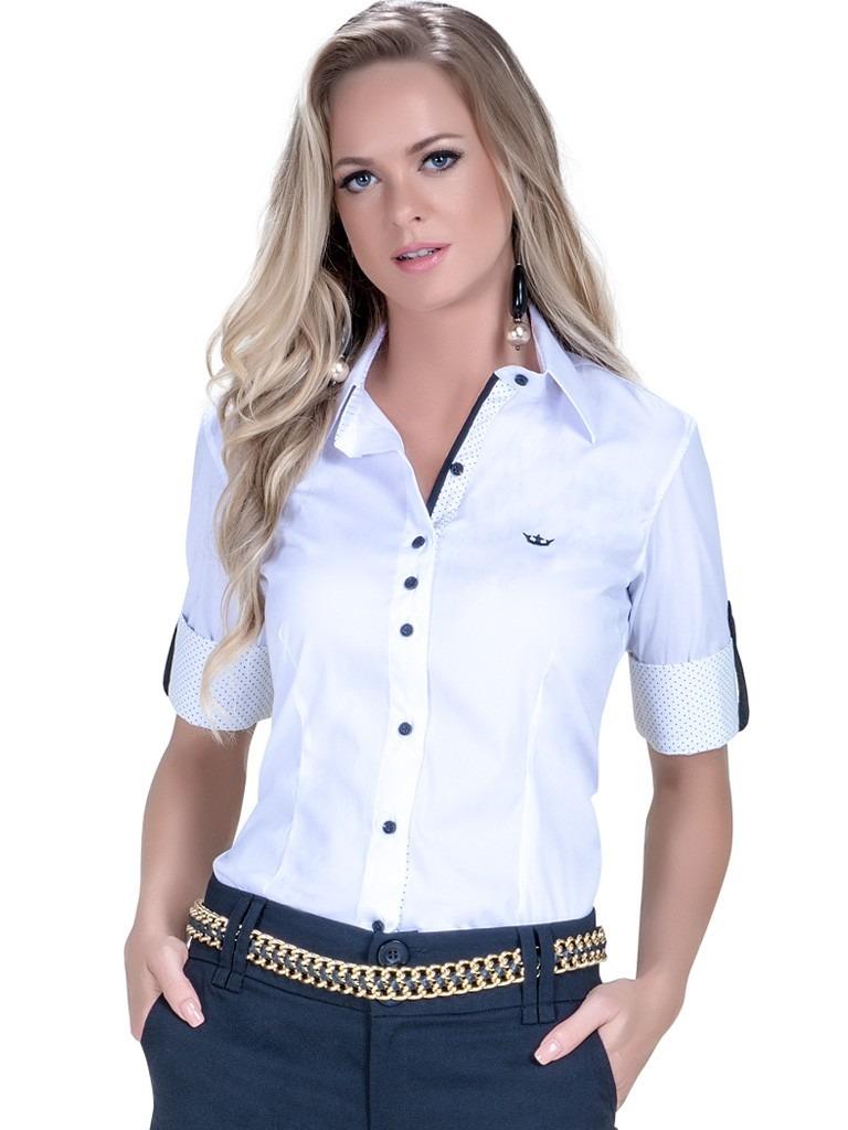 7cedf1aee camisa manga social feminina 3 4 branca principessa sabine. Carregando zoom.