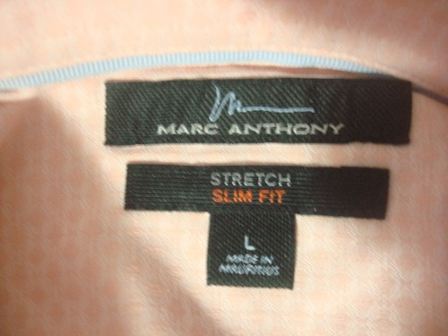 camisa marc anthony color melón talla l slim fit stretch