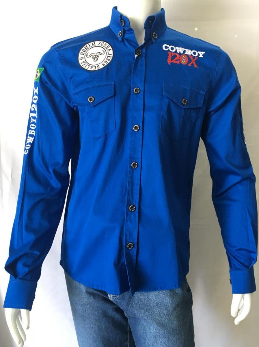 camisa masc cowboy 120x azul. Carregando zoom. e058c14e796