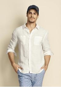 b05b3cd9a7 Camisa Masc. Tecido De Linho Com Bolsos Hering - 324ktv7 Off