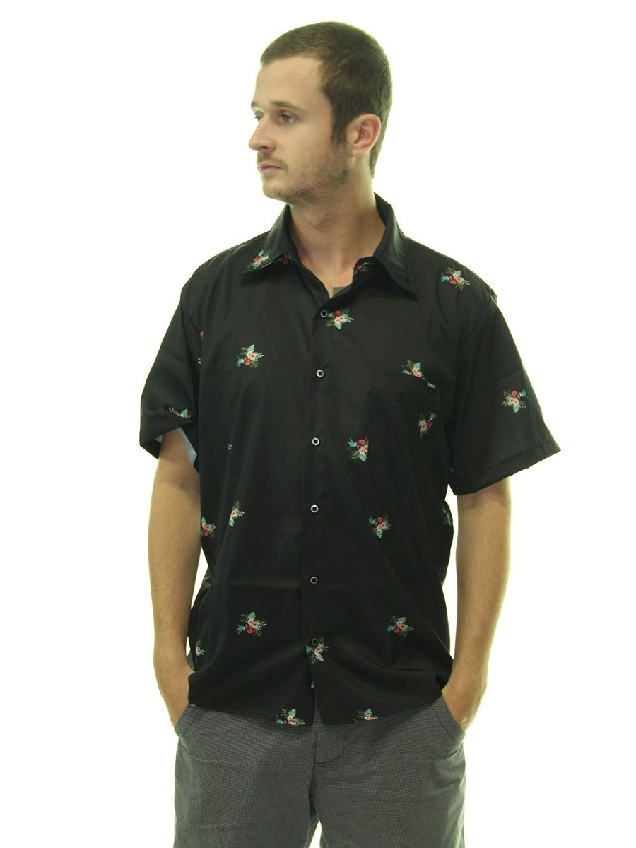 camisa masculina blinca floral manga curta estampada - preto. Carregando  zoom. 0586d25a58