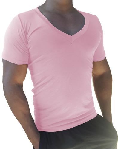 camisa masculina decote gola v cavada slim viscose elastano