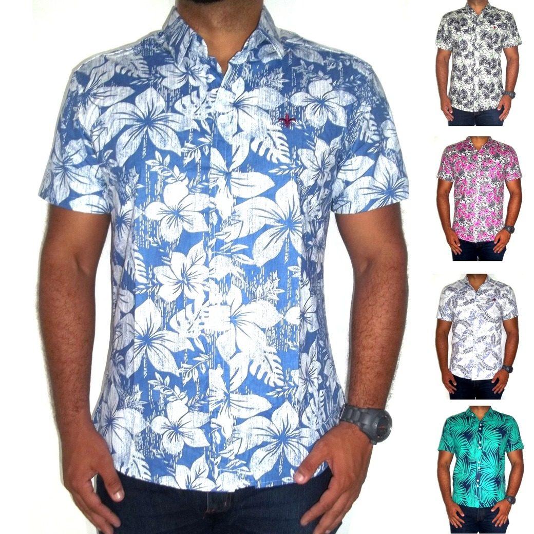camisa masculina estampada floral casual slim manga curta. Carregando zoom. 00bb6725cd