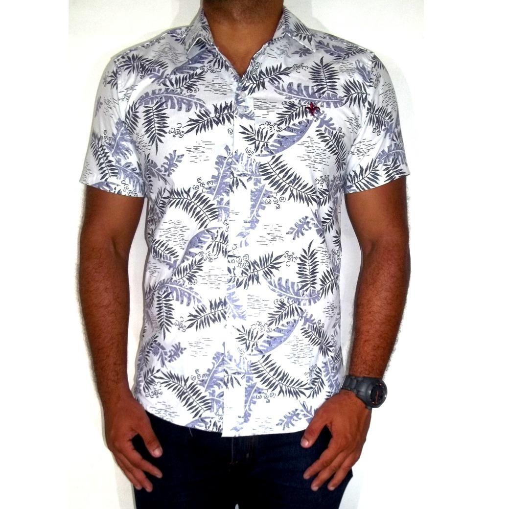 camisa masculina estampada floral casual slim manga curta. Carregando zoom. c9bb3416565