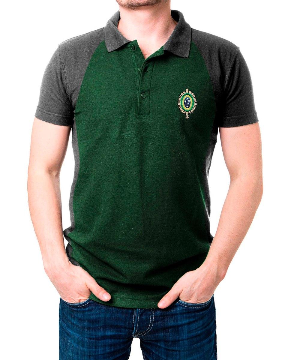67888cd3114a1 camisa masculina gola polo exército brasileiro verde e cinza. Carregando  zoom.