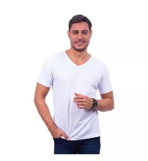 2a85cadb5d Camisa Masculina Gola V 100% Algodão Pronta Entrega - R  19
