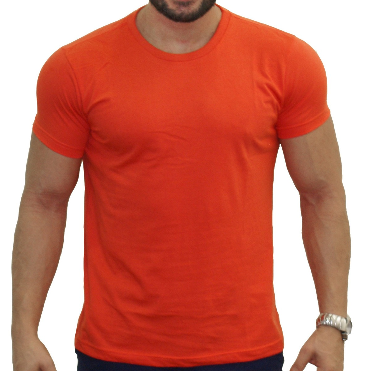 camisa masculina laranja lisa 100% algodão empório armani. Carregando zoom. 1cd88bc82ef