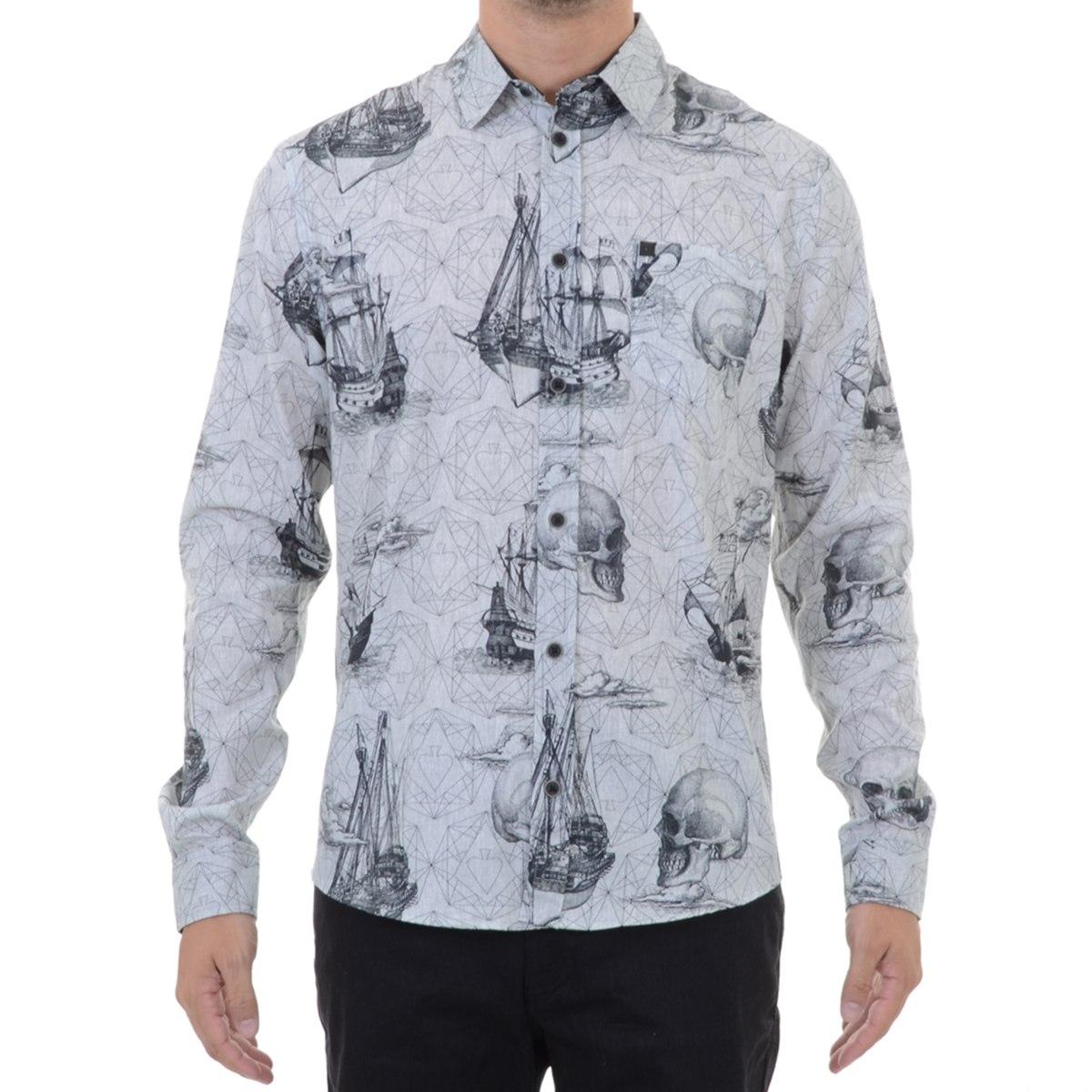 camisa masculina mcd caravelas cinza. Carregando zoom. 21d45c528c9