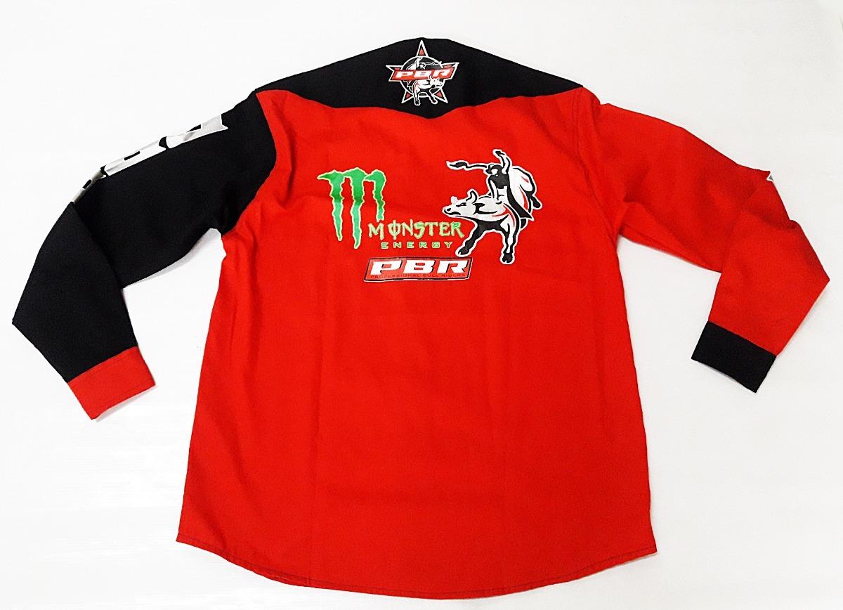 d34f385f403fb camisa masculina rodeio preta vermelha pbr country monster. Carregando zoom.