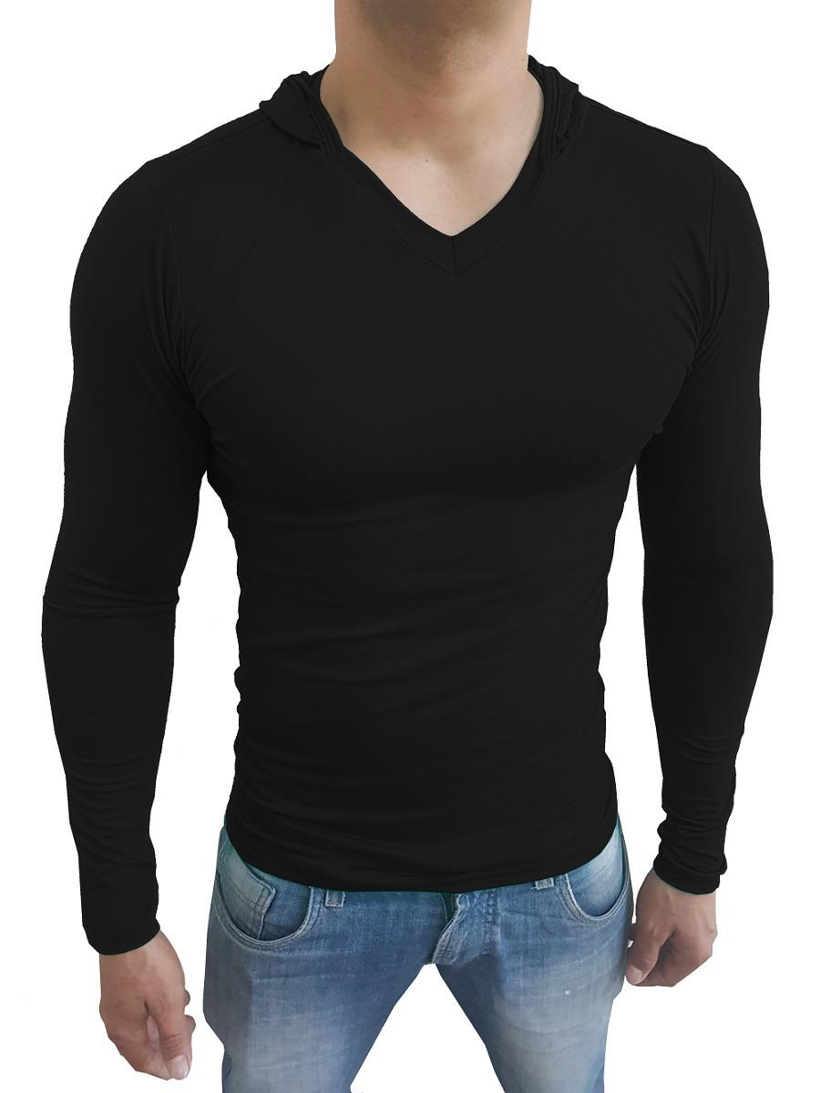3e10a76506 camisa masculina slim capuz gola v rasa manga comprida. Carregando zoom.