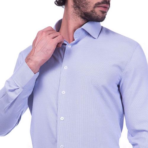 camisa masculina slim fit premium azul listrada r-5367c