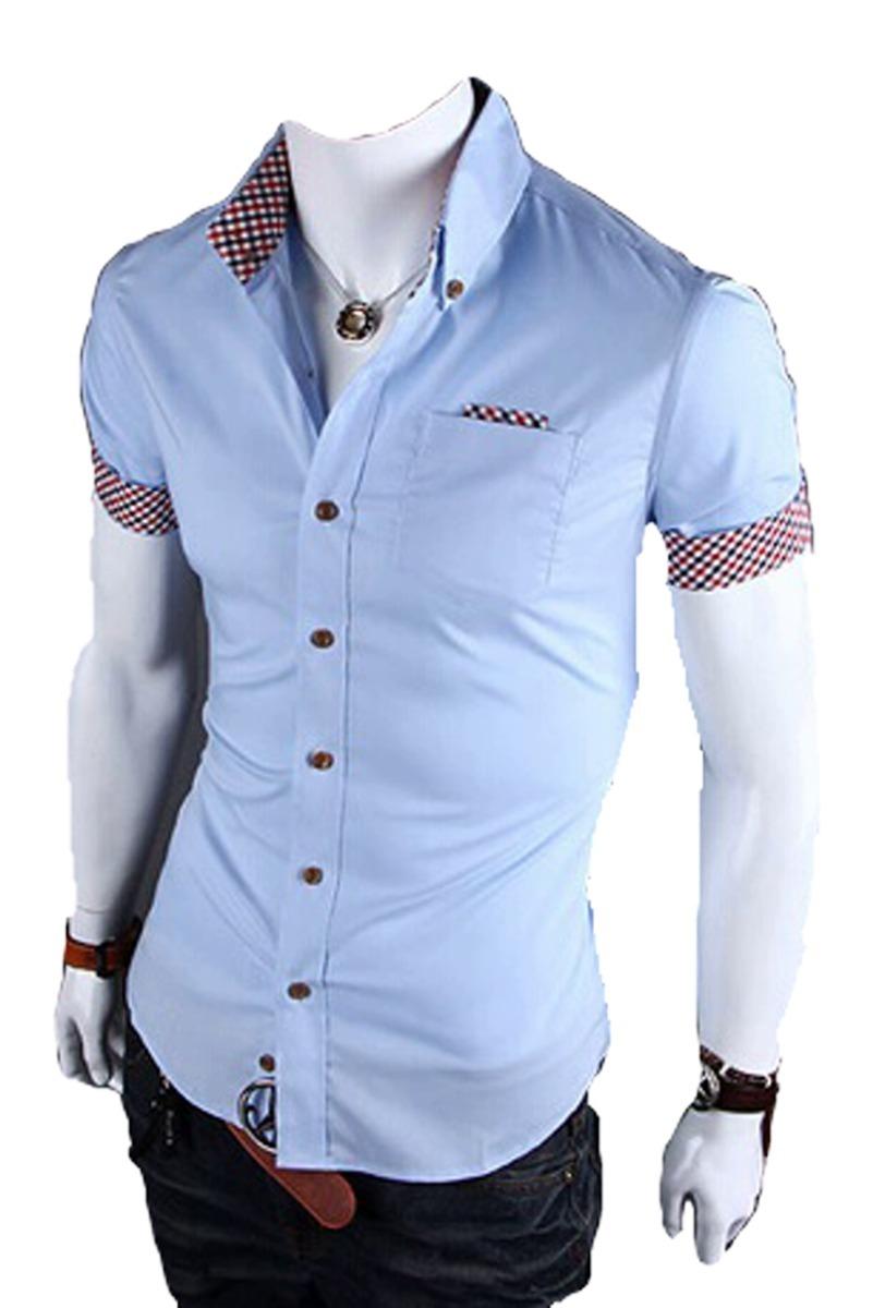 3817890416 camisa masculina slim modelo britânico frete grátis p/ 2 un. Carregando  zoom.