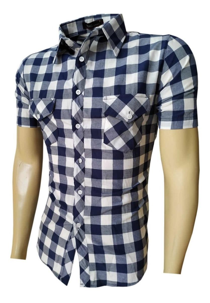 2bfa29f52 Camisa Masculina Xadrez Manga Curta Top Verão - R$ 64,99 em Mercado ...