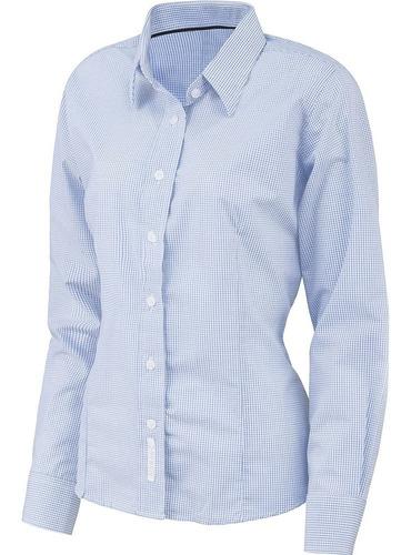 camisa microcuadro para dama y caballero, uniforme corporativo