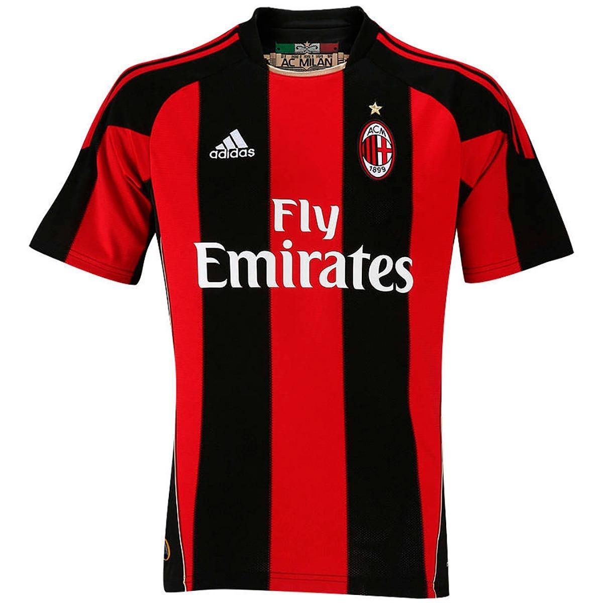 ... camisa milan adidas original 10 11 home casa vermelha preta. Carregando  zoom. dd9f14eac753da ... 69adef0a23ae8