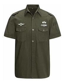 zapatos deportivos 9eb43 d2d14 Camisa Militar De Manga Corta Con Botones Para Hombre