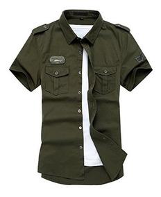 diseño atemporal 3a98e 8b229 Camisa De Carga Con Botones De Estilo Militar Casual De Mang