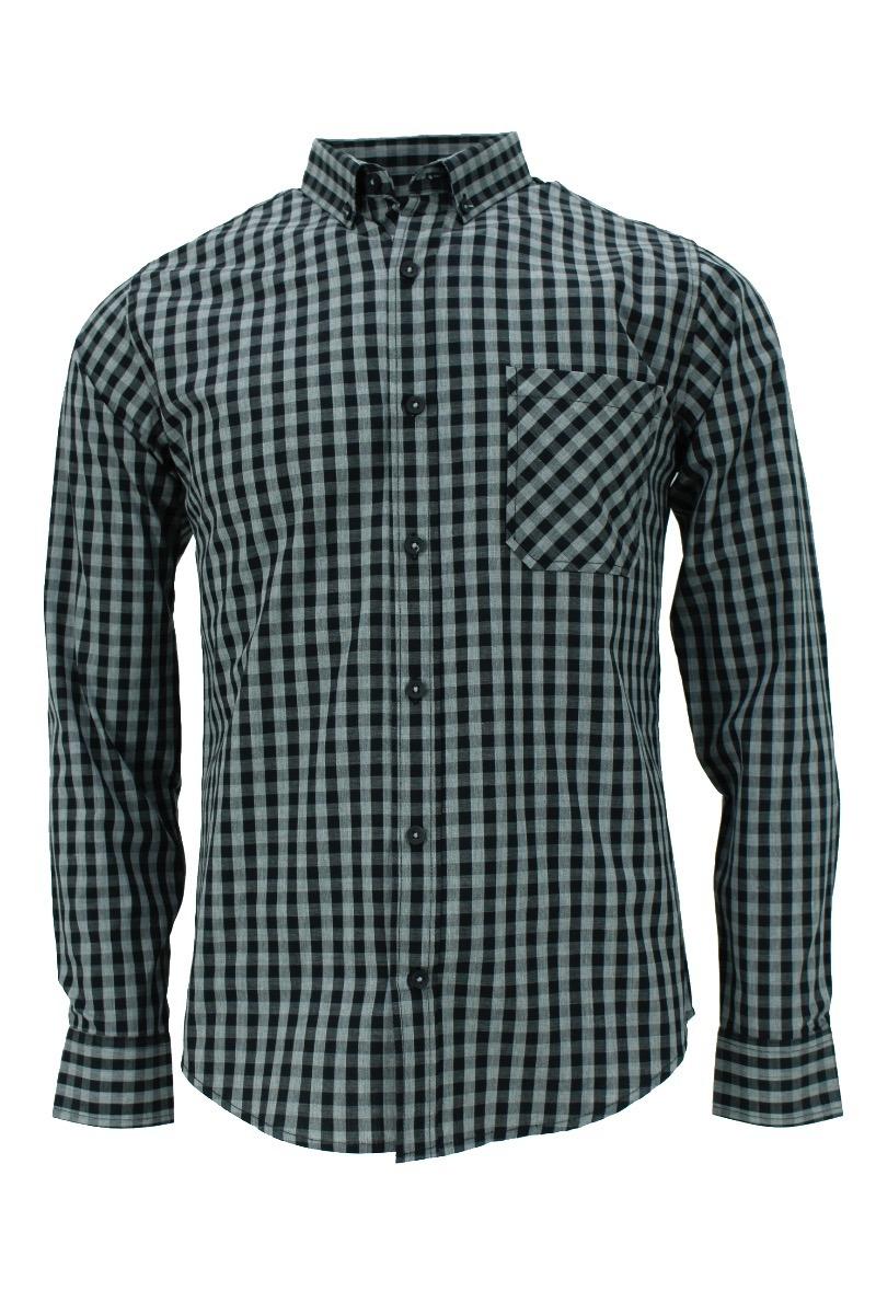 32315216dc1bf Camisa M l Cuadros Chicos Negro Gris -   469.00 en Mercado Libre
