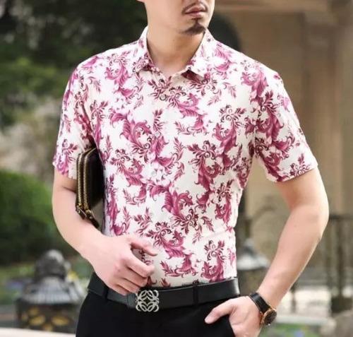 camisa moda floreada slim fit popelina tallas tarda 4-6 sem