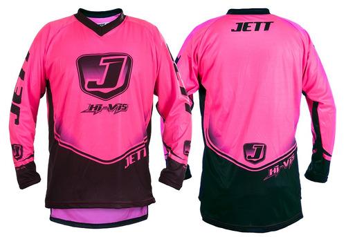 camisa motocross jett hi vis neon - rosa - gg