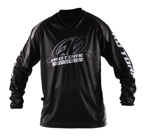 camisa motocross trilha enduro pro tork insane in black