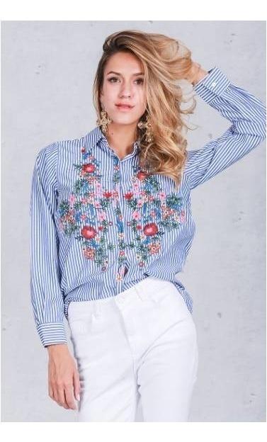 0749f6afa57d Camisa Mujer A Rayas Bordada Color Azul