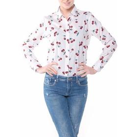 Camisa Mujer Cerezas Pin Up Talla S