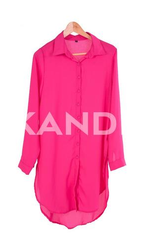 camisa mujer lisa de gasa larga p/ calzas. colores. kandil
