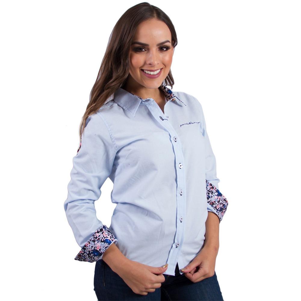 3f1077e772e06 Camisa Mujer Porto Blanco Manga Larga Azul Cielo D-343 -   389.00 en ...