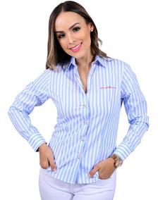 venta reino unido más cerca de diversificado en envases Camisa Mujer Porto Blanco Manga Larga Azul Cielo Rayas