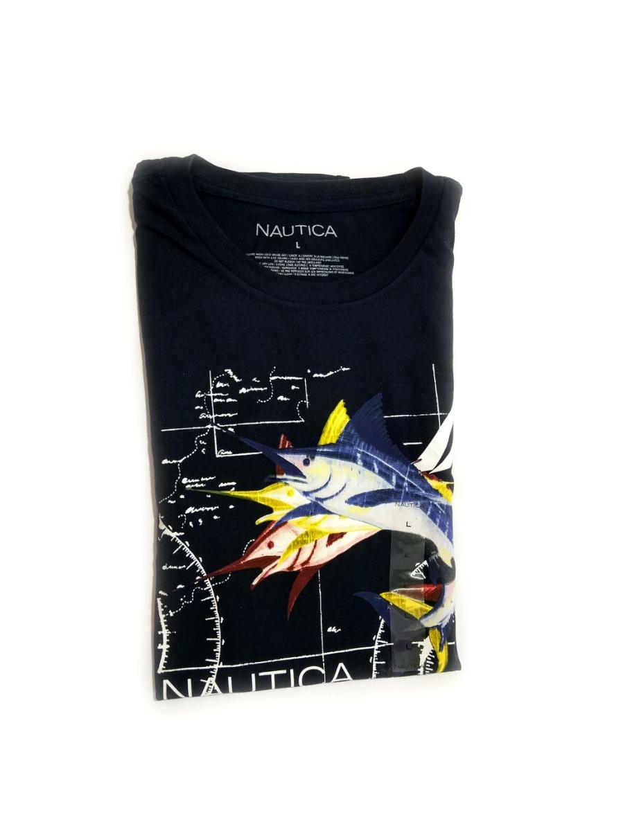 Camisa Nautica Masculina Original Azul Com Desenho De