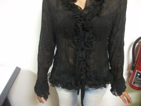 01e4ab2bc Camisa Negra Con Encaje Usada Talla S Tienda Virtual