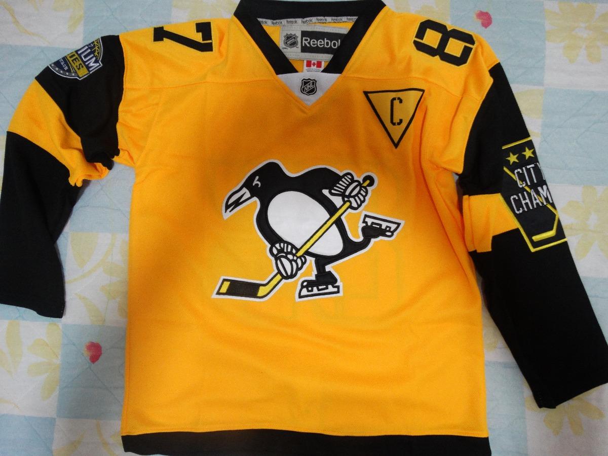 dd0648cb98eaf camisa nhl pittsburgh penguin sidney crosby amarela. Carregando zoom.