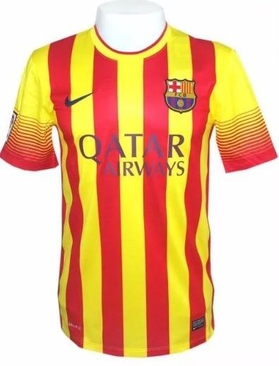 Camisa Nike Barcelona Ii Anos 13 14 S nº Amarela Vermelha - R  149 ... e8d339680e681