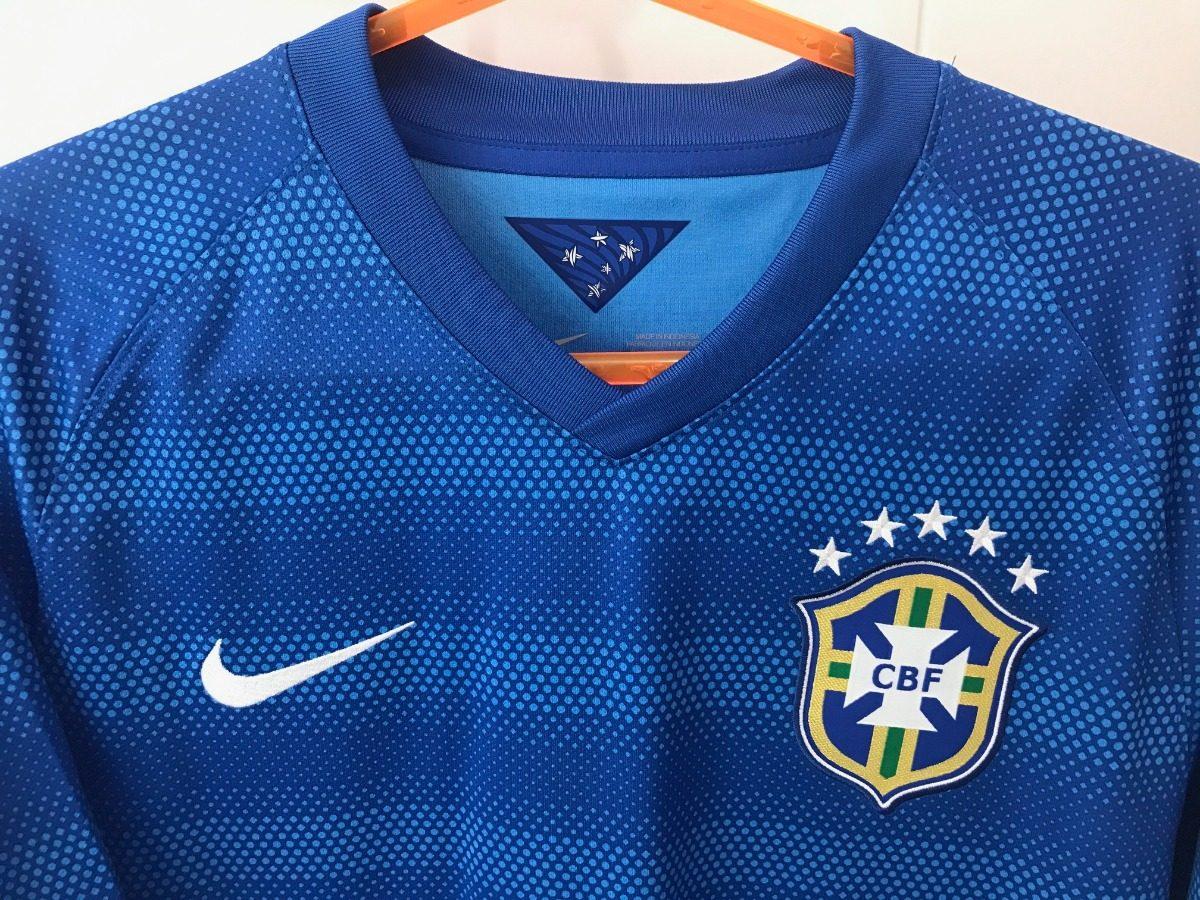 camisa nike brasil copa 2014 azul - m. Carregando zoom. db027828277a1