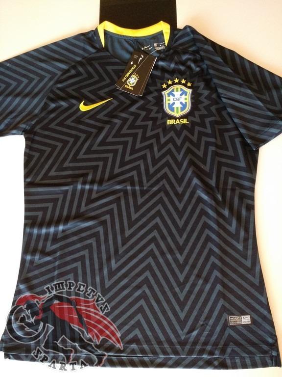 a28c0b1b4c Camisa Nike Brasil Pré Jogo Preta 2018 2019 - R  150