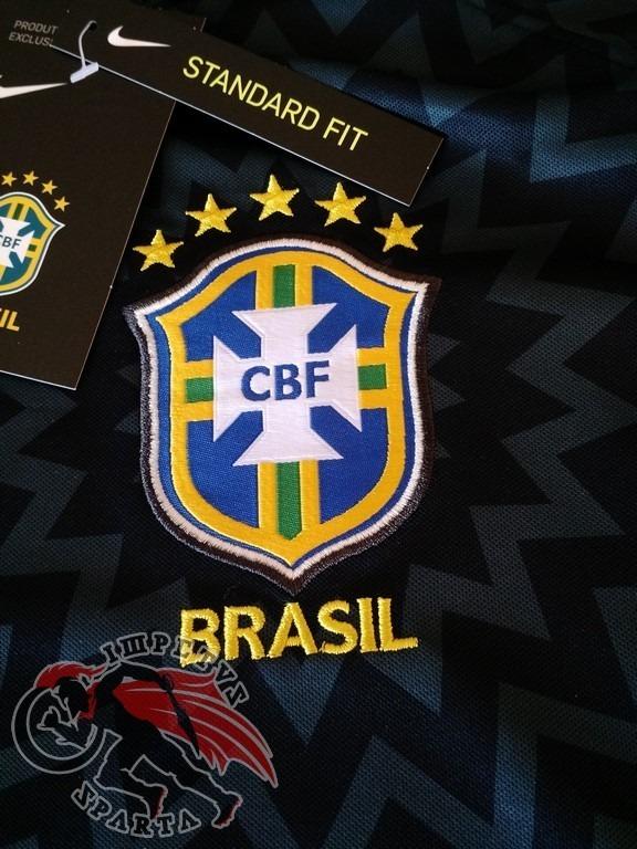 Camisa Nike Brasil Pré Jogo Preta 2018 2019 - R  150 21ef036e5d5bd