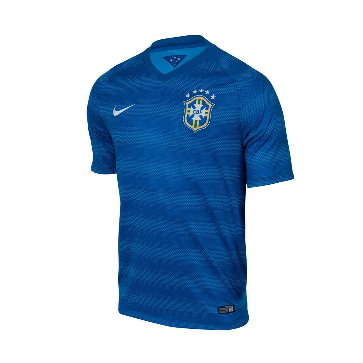 camisa nike cbf away azul 2014 torcedor g. Carregando zoom. cbc729a86f361