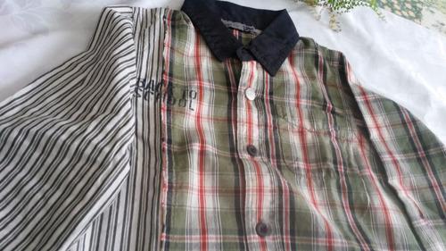 camisa niño t.4-  !muy canchera !! sin uso. algodon cuadros