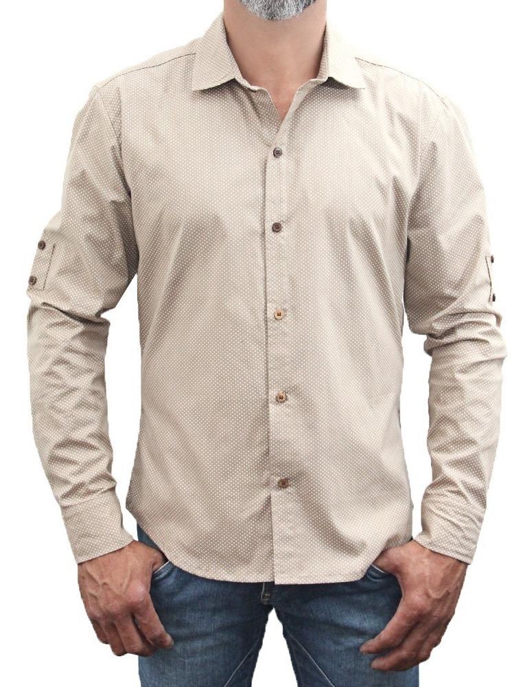 0a74a621d84a9 camisa nude masculina manga longa slin fit estampada poá. Carregando zoom.