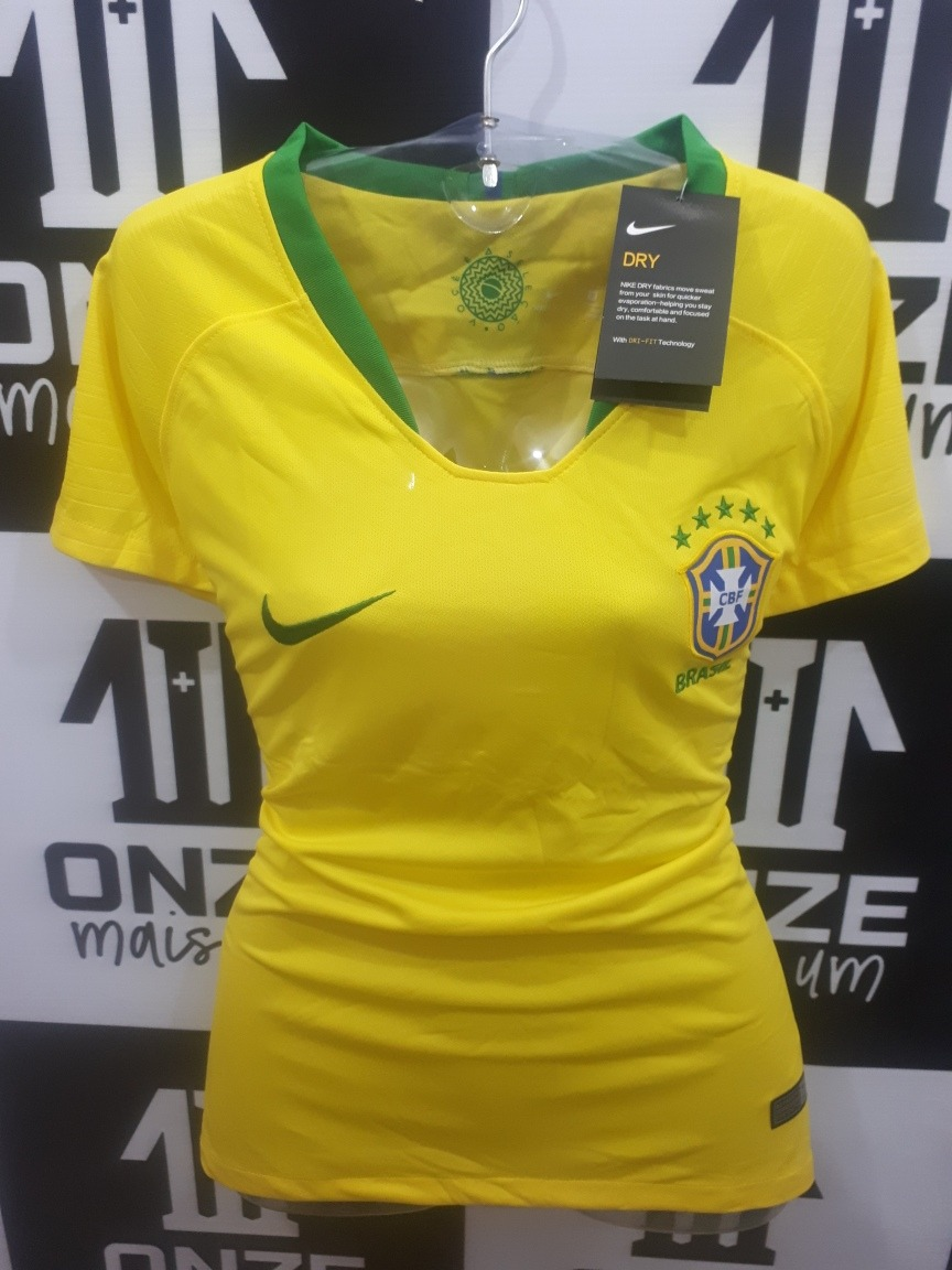 1aea32bc914dd Camisa (oficial) Brasil Feminina 2018 Torcedora - R  119