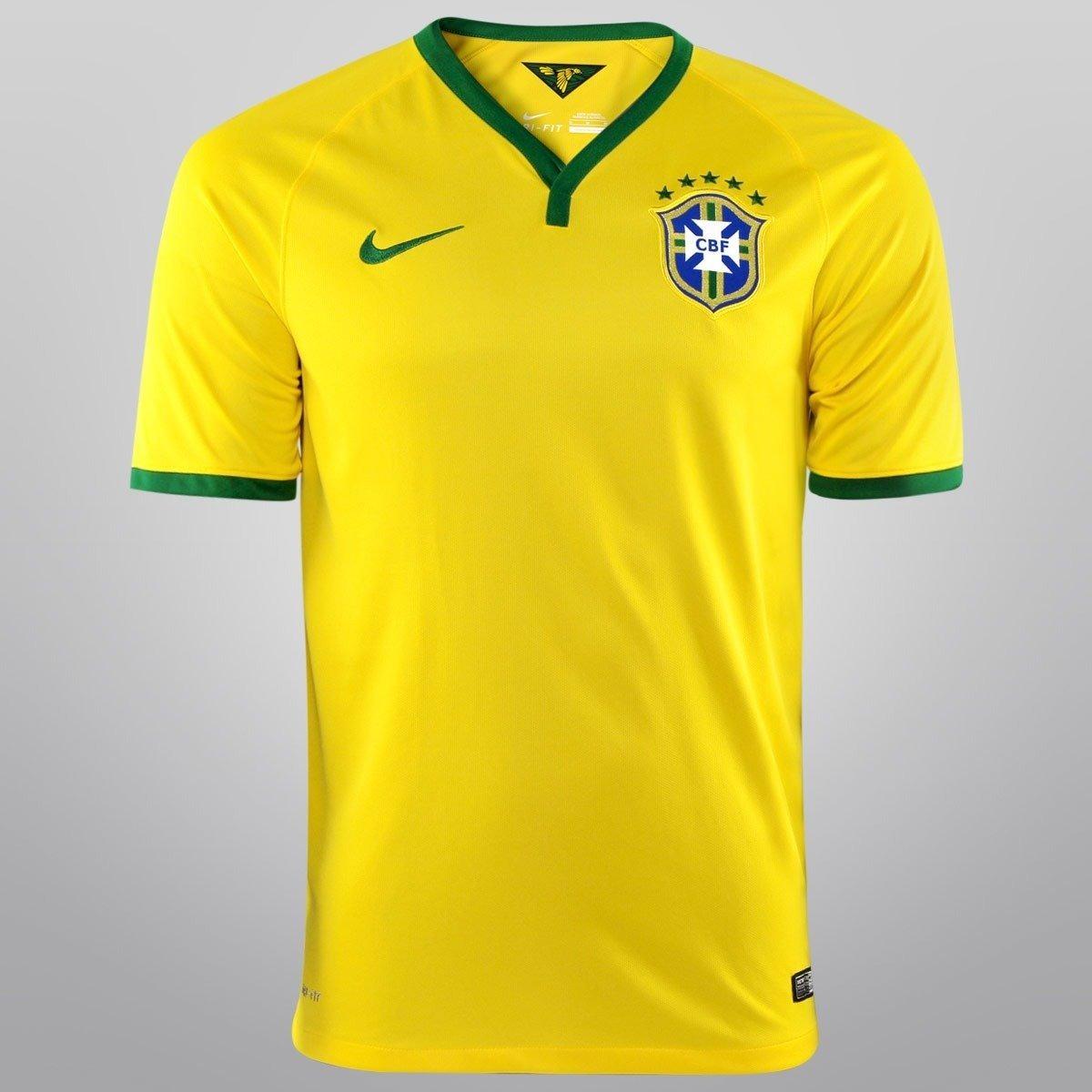 c7749d8773 camisa oficial do brasil copa 2014 amarela oficial fifa nike. Carregando  zoom.