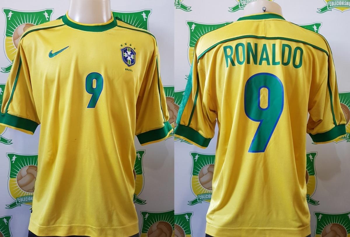 camisa oficial futebol brasil   9 ronaldo copa do mundo 1998. Carregando  zoom. b987cdf8c89bc