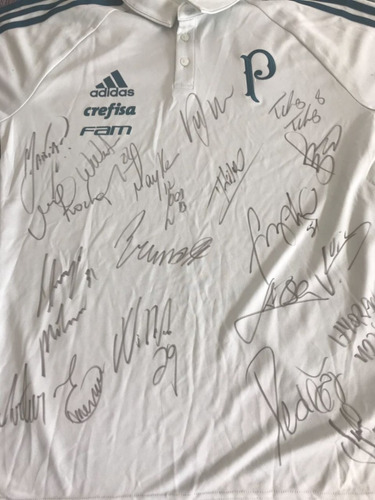 camisa oficial palmeiras autografada pelos jogadores 2018
