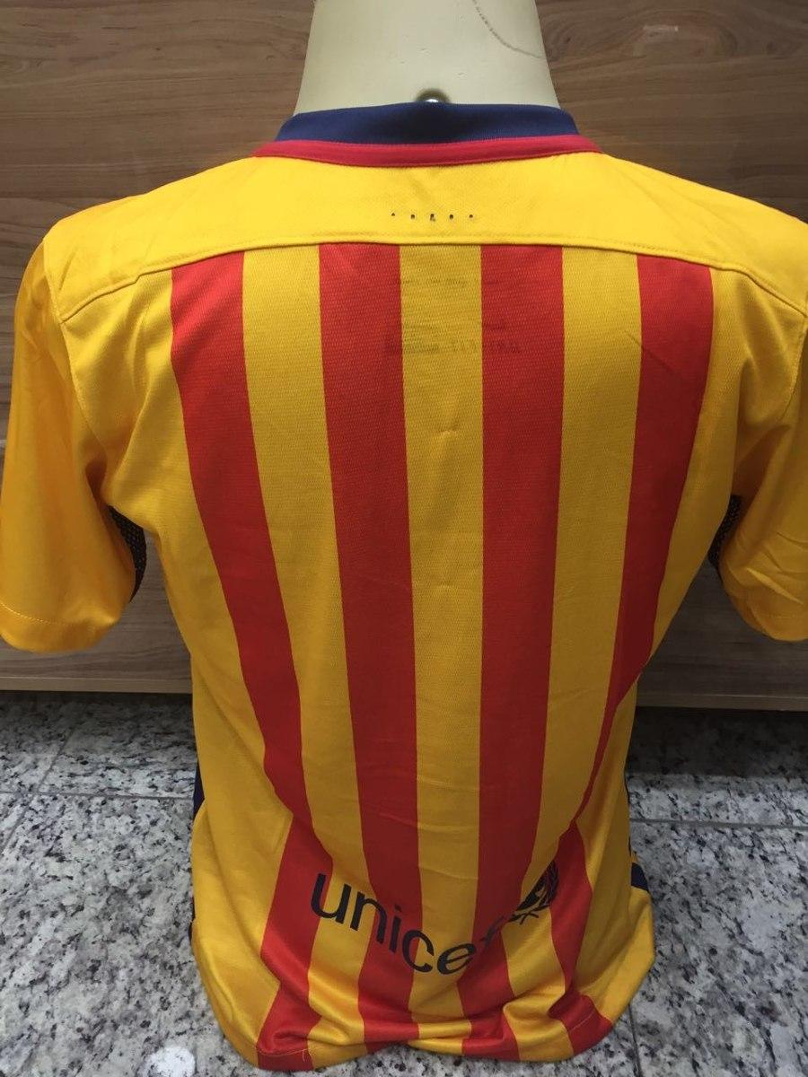 camisa original do barcelona amarela uniforme 2 barça 2016. Carregando zoom. 7dcd2cd082d98