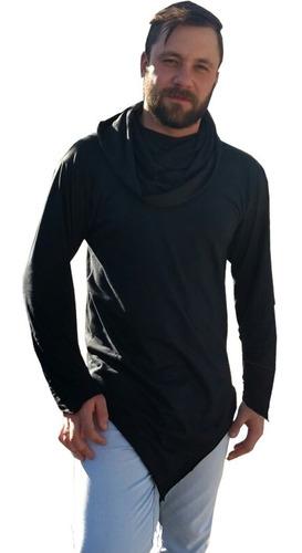 camisa oversized swag manga longa gola vira capuz barra em v