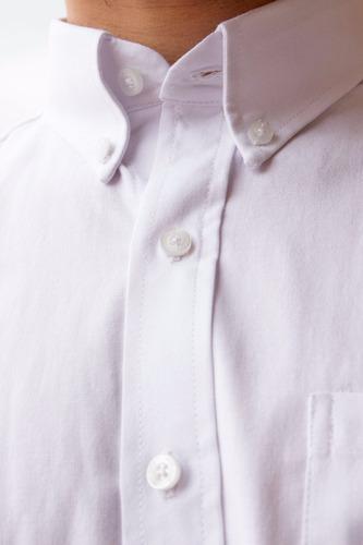 camisa oxford casual clásica hombre blanca botón down